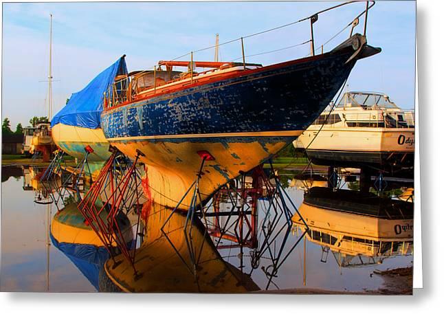 Boat Yard Blues Greeting Card by Laura Ragland
