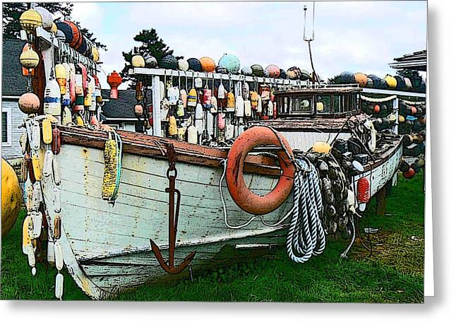 Pamela Patch Greeting Cards - Boat Yard Greeting Card by Pamela Patch