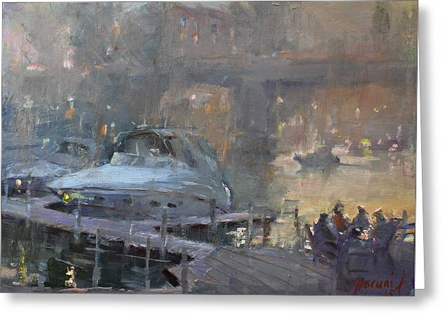 Boaters At Dusk Greeting Card