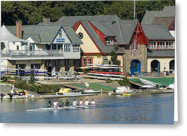 Boaters Row Greeting Card by Richard Nowitz