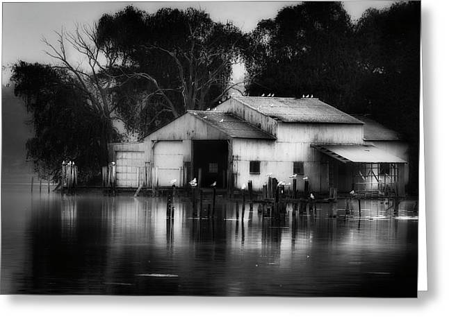 Greeting Card featuring the photograph Boathouse Bw by Bill Wakeley