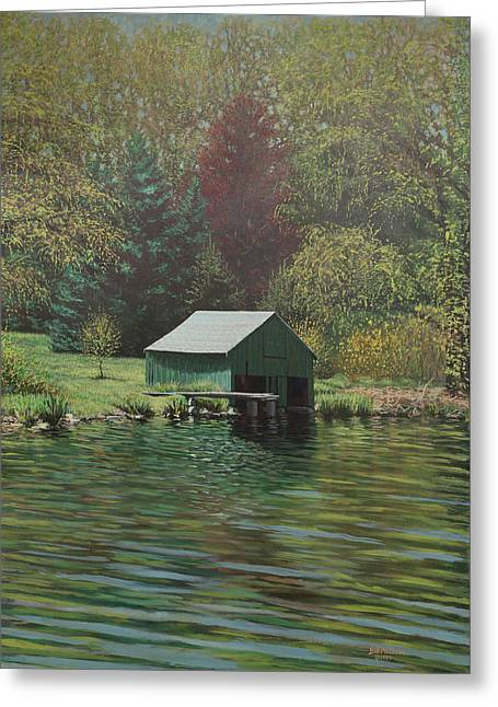 Boathouse On Langwater Pond Greeting Card