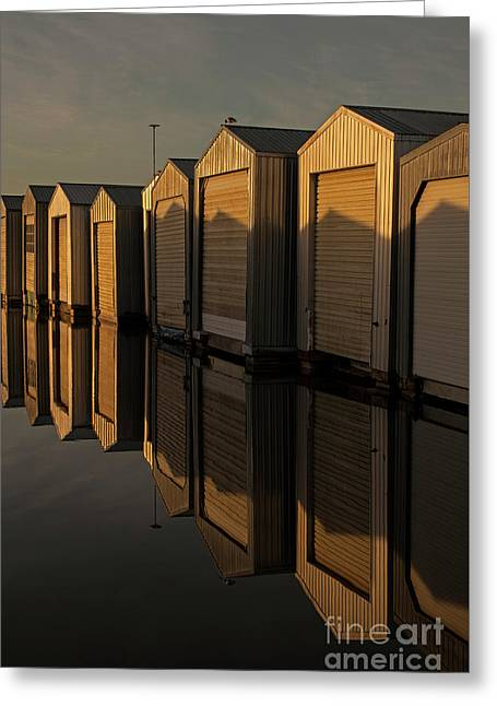 Boathouse Reflection Greeting Card by Jim Corwin