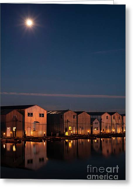 Boathouse Reflections With Moonset Greeting Card by Jim Corwin