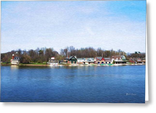 Boathouse Row At The Bend Greeting Card by Bill Cannon