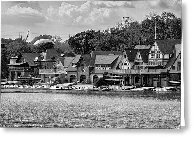 Boathouse Row - Bw Greeting Card