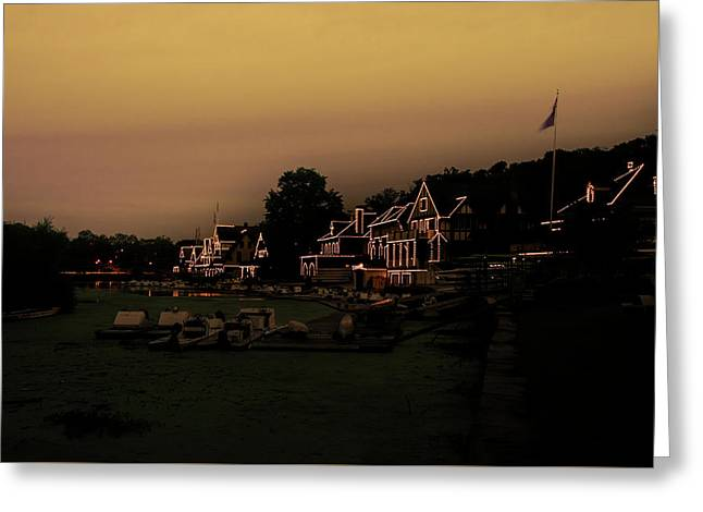 Greeting Card featuring the photograph Boathouse Row From The Lagoon Before Dawn by Bill Cannon