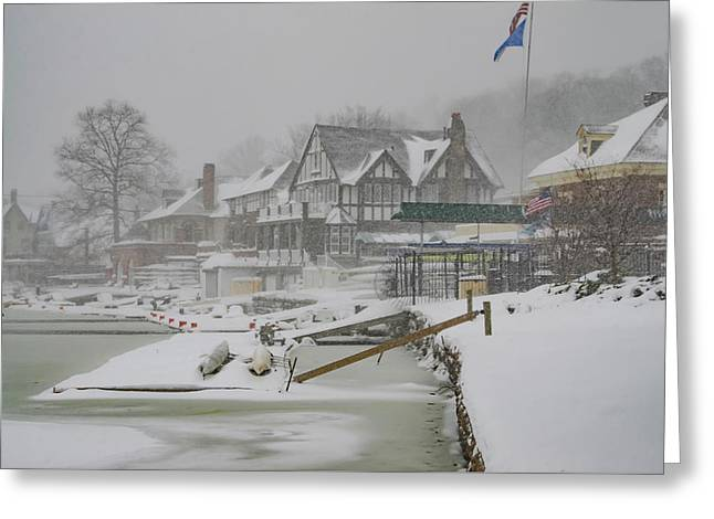 Boathouse Row In A Snow Storm Greeting Card by Bill Cannon