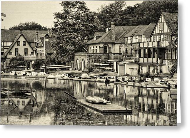 Boathouse Row In Sepia Greeting Card by Bill Cannon