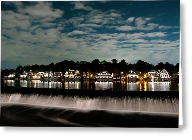 Boathouse Row - Nights Reflection Greeting Card by Bill Cannon