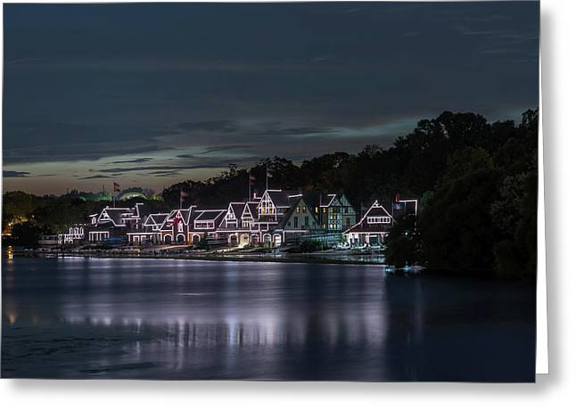 Boathouse Row Philadelphia Pa At Night  Greeting Card