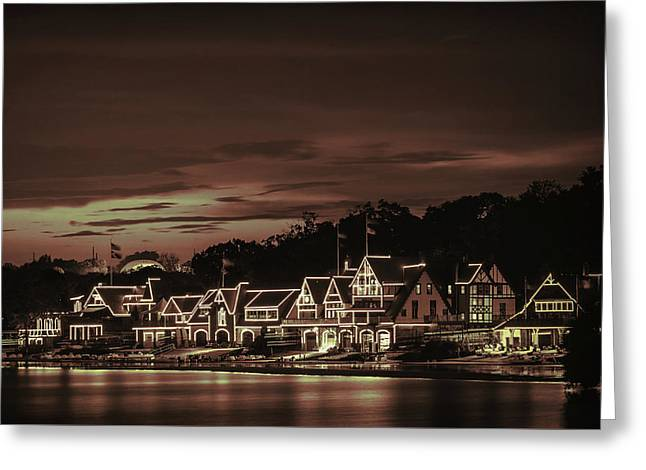 Boathouse Row Philadelphia Pa Night Retro Greeting Card