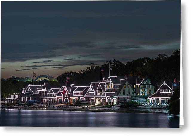 Boathouse Row Philly Pa Night Greeting Card