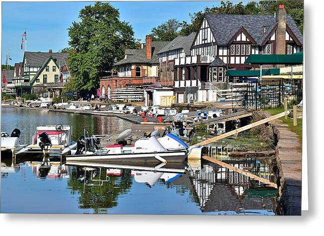 Boathouse Row Reflecting Greeting Card by Frozen in Time Fine Art Photography
