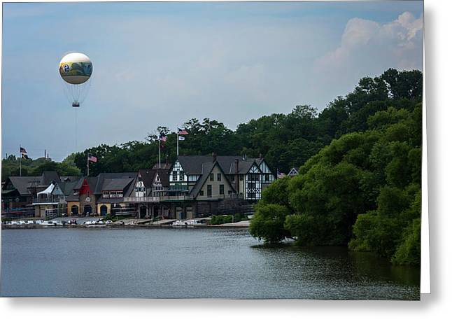 Boathouse Row With Zoo Balloon Philadelphia Greeting Card by Terry DeLuco