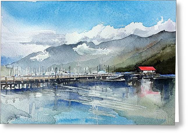 Boathouse Greeting Card by Stephanie Aarons