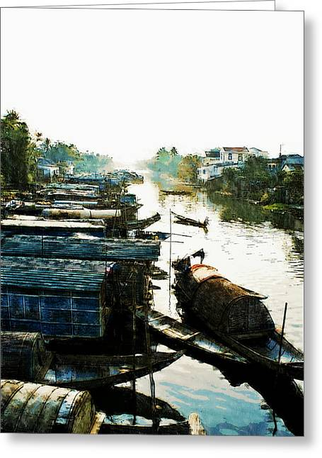 Boathouses In Vietnam Greeting Card