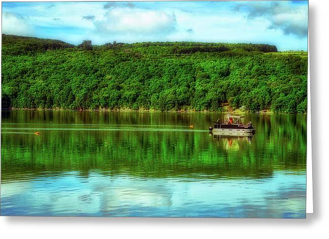 Boating And Fishing Finger Lakes New York Greeting Card by Thomas Woolworth