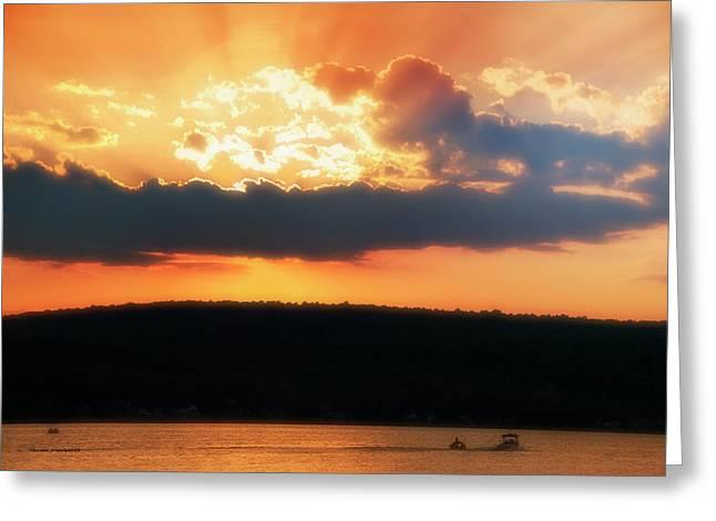 Boating At Sun Set Finger Lakes New York Greeting Card by Thomas Woolworth