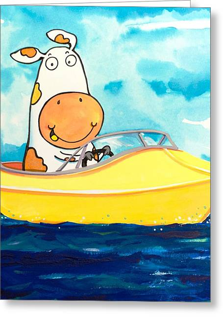 Scott Nelson And Son Paintings Greeting Cards - Boating Cow Greeting Card by Scott Nelson
