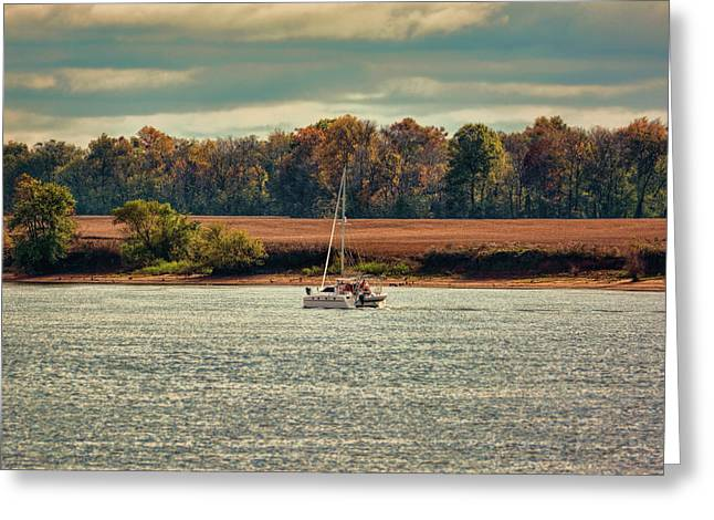 Boating In Autumn 2 Greeting Card