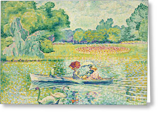 Boating In The Bois De Boulogne Greeting Card by Henri-Edmond Cross