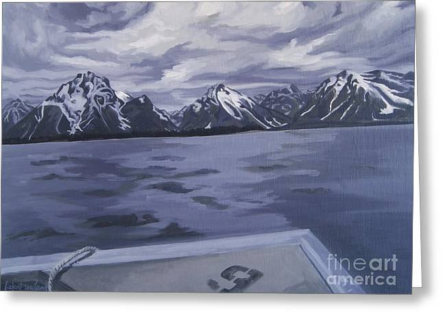 Greeting Card featuring the painting Boating Jenny Lake, Grand Tetons by Erin Fickert-Rowland