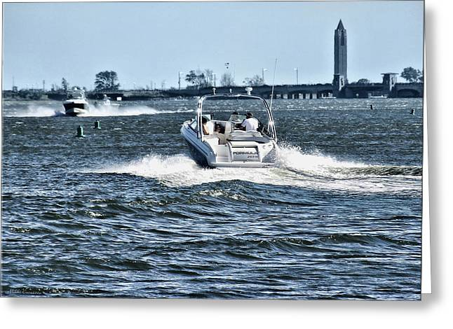 Boating Off Of Jones Beach Greeting Card by Mikki Cucuzzo