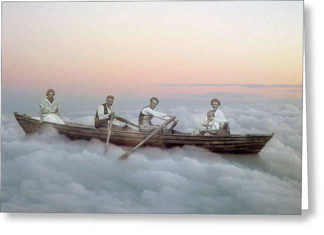 Boating On Clouds Greeting Card by Martina Rall