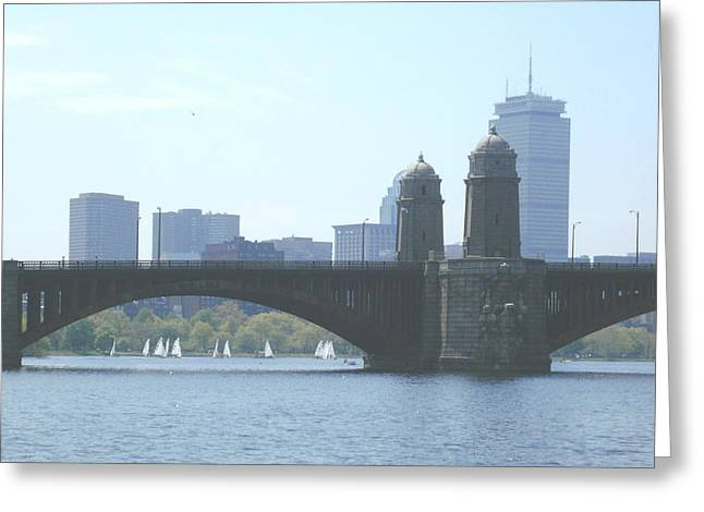 Boating On The Charles Greeting Card by Laura Lee Zanghetti