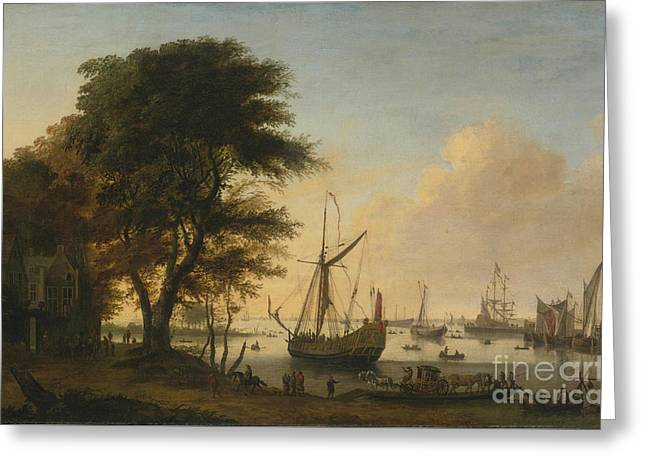 Boating Scene With A Royal Greeting Card