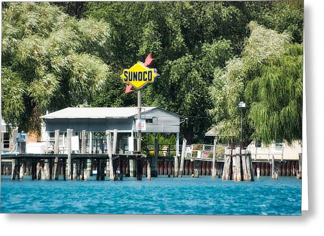 Boating Sunoco Gas Signage Greeting Card