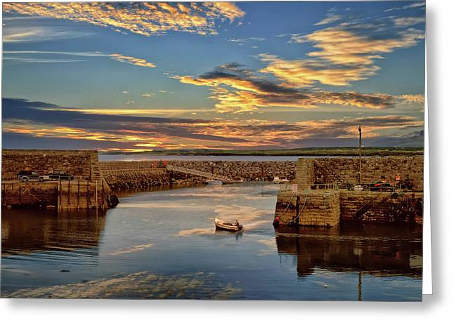 Boatman At Mullaghmore Harbour Greeting Card