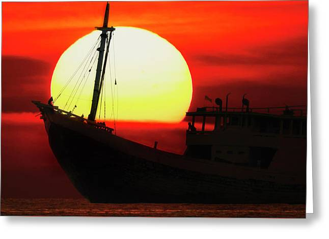 Boatman Enjoying Sunset Greeting Card
