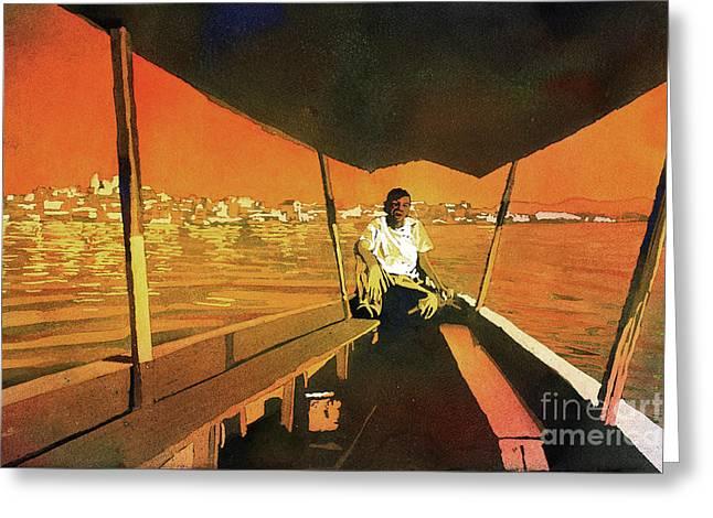 Boatman Guatemala Greeting Card by Ryan Fox