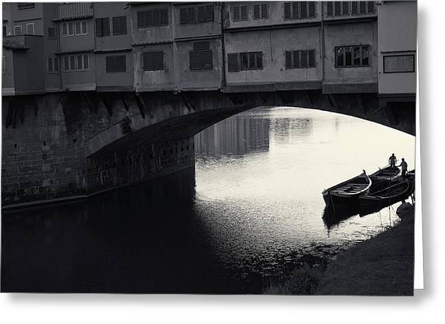 Boatmen And Ponte Vecchio, Florence, Italy Greeting Card