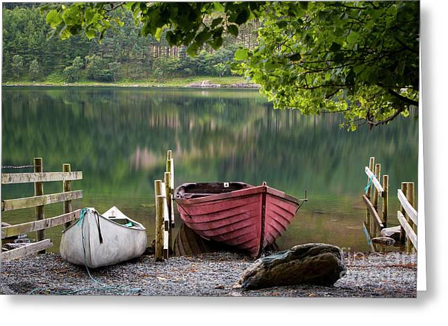 Boats Along Buttermere Greeting Card