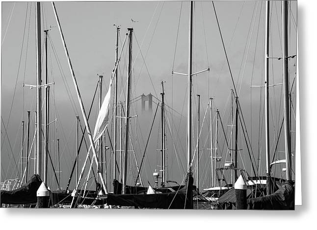 Boats And A Bridge On The Bay Greeting Card