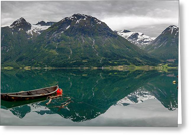 Greeting Card featuring the photograph Boats And Mountain Reflection In The Water In Panorama by IPics Photography