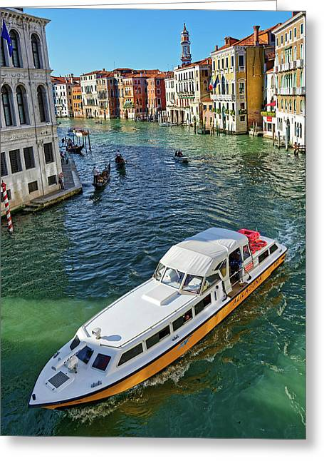 Boats And Ships In Venice Greeting Card