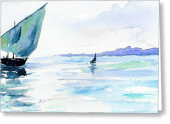 Boats Greeting Card by Anne Marie Brown