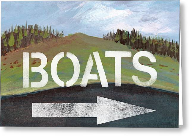 Boats- Art By Linda Woods Greeting Card by Linda Woods