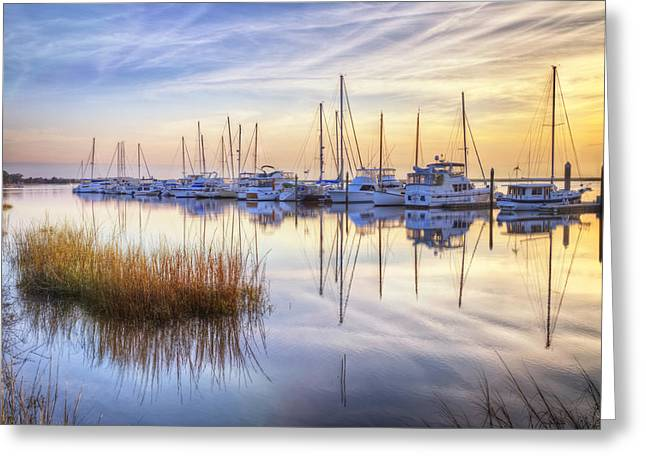 Boats At Calm Greeting Card by Debra and Dave Vanderlaan