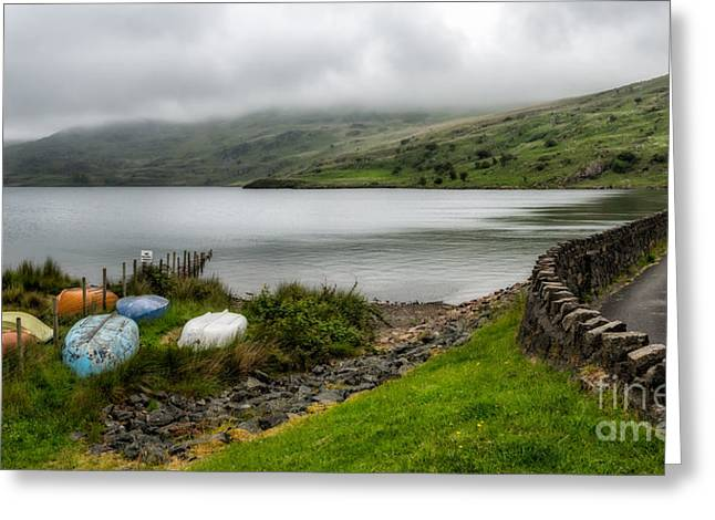 Boats At Cwmystradllyn  Greeting Card by Adrian Evans