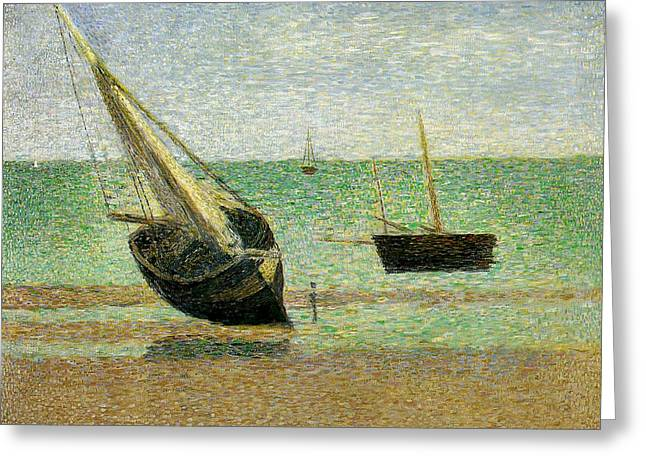 Boats At Grandcamp Greeting Card by Georges Pierre Seurat