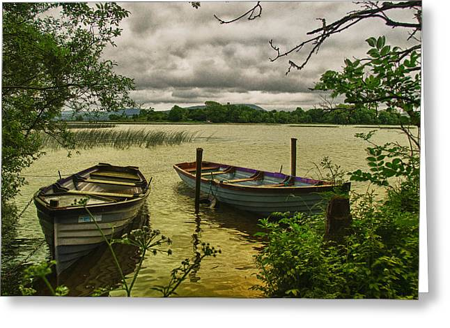 Boats At Holy Island County Clare Ireland Greeting Card by Joe Houghton