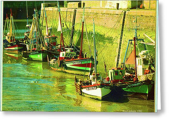 Boats At Honfluer France Greeting Card by Fred Jinkins