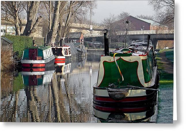 Boats At Horninglow Basin Greeting Card by Rod Johnson