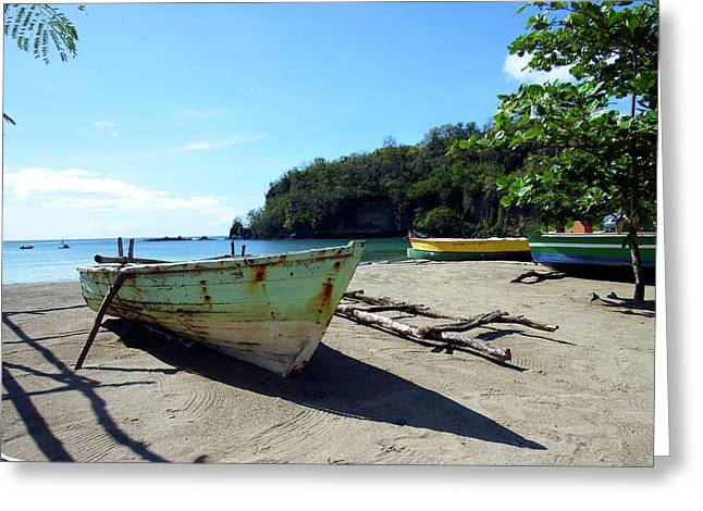 Greeting Card featuring the photograph Boats At La Soufriere, St. Lucia by Kurt Van Wagner