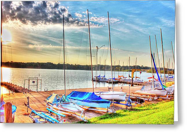 Boats At Lake Decatur Greeting Card by Ann Higgens